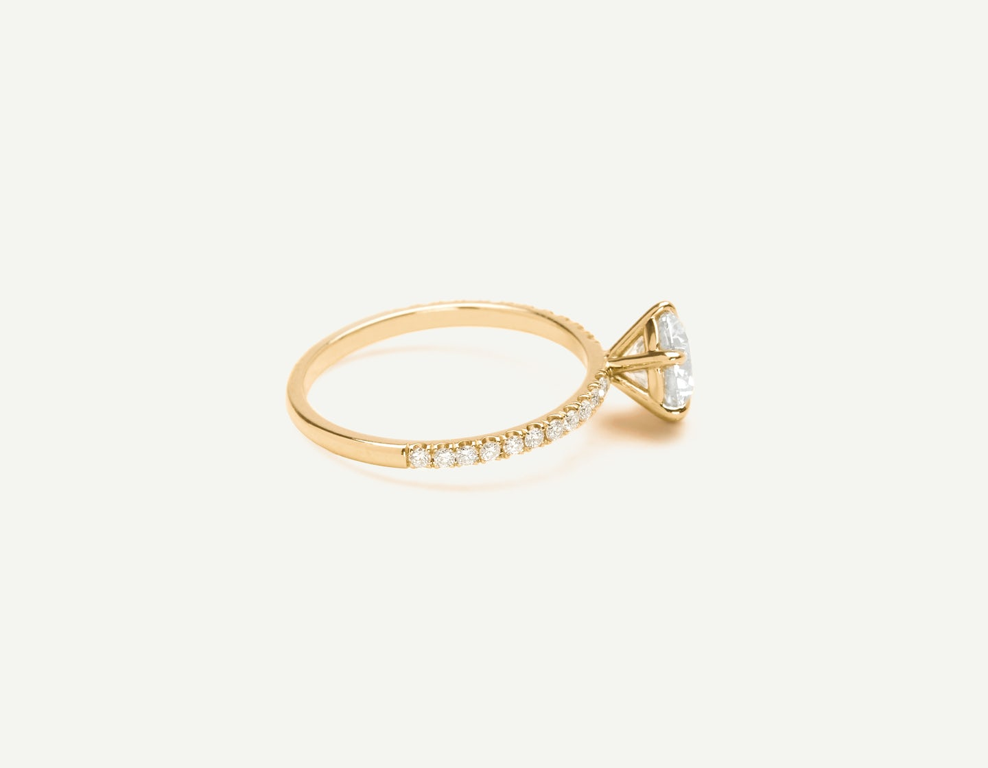 Solitaire Pavé Diamond Engagement Ring By Vrai Oro